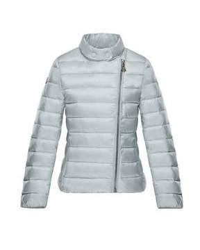 Moncler Amy Asymmetric-Zip Jacket, Light Gray, Size 8-14