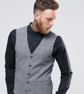 Religion Super Skinny Vest In Check with Stretch