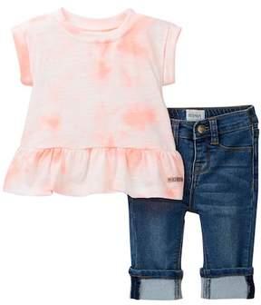 Hudson Tie Dye Shirt & Denim Crop Pants (Baby Girls)