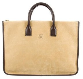 Loewe Leather-Trimmed Suede Satchel
