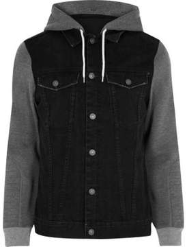 River Island Mens Black jersey hoodie denim jacket