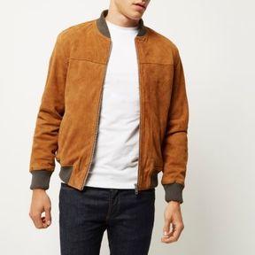River Island Mens Tan premium suede bomber jacket