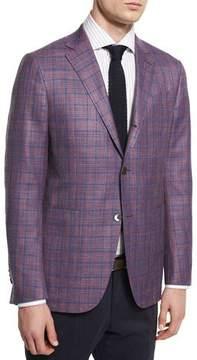 Ermenegildo Zegna Milano Easy Plaid Three-Button Wool-Blend Jacket, Pink/Blue