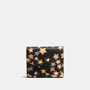 COACH Coach Small Wallet With Starlight Print - MATTE BLACK/BLACK MULTI - STYLE