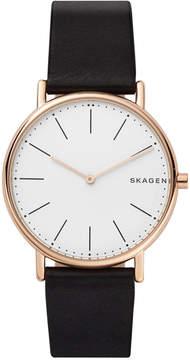 Skagen Unisex Signatur Black Leather Strap Watch 40mm