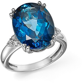 Bloomingdale's London Blue Topaz Statement Ring with Diamonds in 14K White Gold - 100% Exclusive