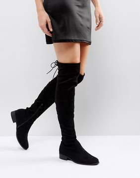 Public Desire Black Flat Tie Back Over The Knee Boot
