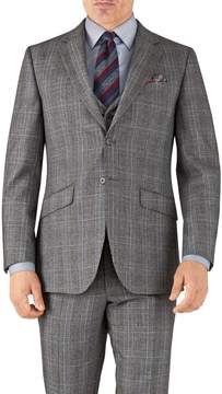 Charles Tyrwhitt Silver Prince Of Wales Slim Fit Flannel Business Suit Wool Jacket Size 38
