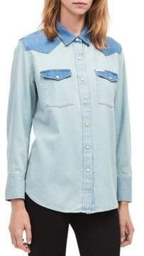 Calvin Klein Jeans Contrast Cotton Denim Button-Up Top