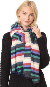 White + Warren Cashmere Stripe Travel Wrap Scarf