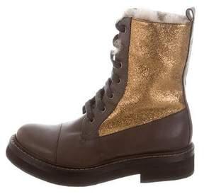 Brunello Cucinelli Cap-Toe Combat Boots w/ Tags