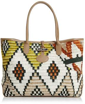 Longchamp Roseau Paniers d'Art Tote - LIME GREEN/SIENNA ORANGE/SILVER - STYLE
