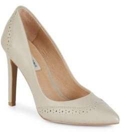 Saks Fifth Avenue Point-Toe Wing Tip Leather Pump