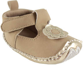Luvable Friends Tan Flower T-Strap Shoe - Girls