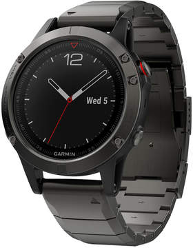 Garmin Men's fenix 5 Sapphire Black/Gray Convertible Strap Smart Watch 47mm 010-01688-20