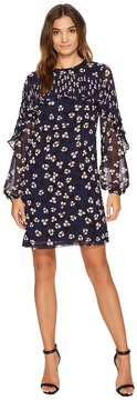 Donna Morgan Long Sleeve Printed Chiffon Shift with Pleating Women's Dress