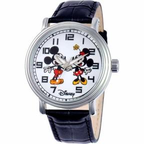 Disney Mickey/Minnie Mouse Men's Vintage Watch, Black Strap