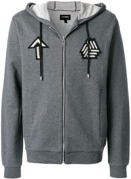 Les Hommes embroidered badge zip hoodie