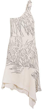 Halston One-shoulder Asymmetric Printed Crepe Dress - White