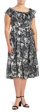 Context Plus Tropical Print Off-the-Shoulder Dress