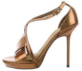 Burberry Metallic Snakeskin Sandals
