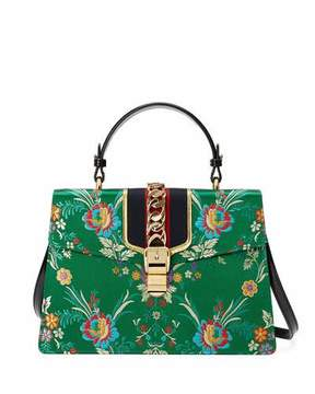 Gucci Sylvie Floral Jacquard Top-Handle Bag, Green/Multi - MULTI - STYLE