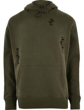 River Island Mens Dark green distressed hoodie