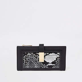 River Island Black snake print front pocket purse