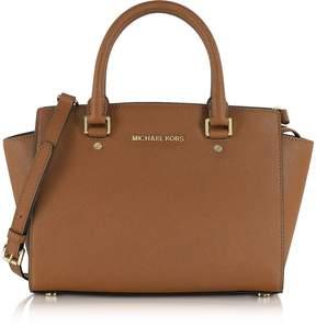 Michael Kors Selma Medium Luggage Saffiano Leather Top-Zip Satchel Bag - BROWN - STYLE
