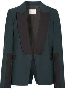 Dion Lee Asymmetric Wool-trimmed Stretch-crepe Blazer - Forest green