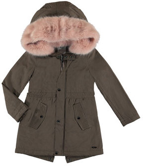Mayoral Faux Fur Hooded Jacket, Brown, Size 8-16