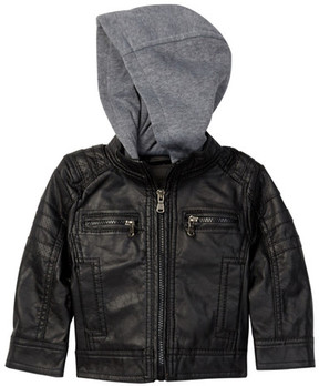 Urban Republic Faux Leather Hooded Jacket (Baby Boys 12-24M)