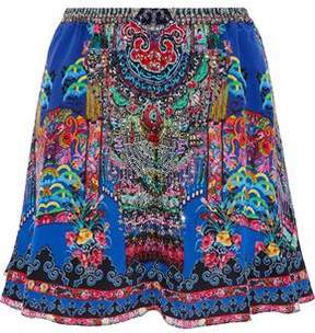 Camilla Embellished Printed Silk Crepe De Chine Mini Skirt