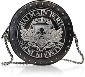 Balmain Black Soft Leather Disco Crossbody Bag w/Silver Embroidered Blazon