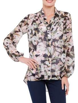 Ellen Tracy Botanical Print Blouse