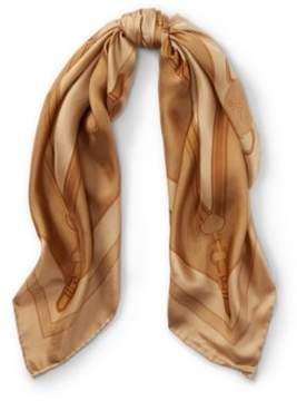 Ralph Lauren Gwen Bridle-Print Silk Scarf Camel One Size