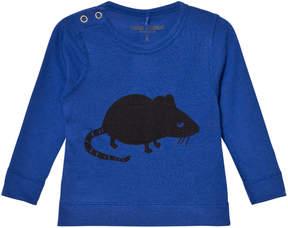 Mini Rodini Blue Mr Mouse Wool Long Sleeve T-Shirt