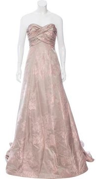 Carmen Marc Valvo Jacquard Strapless Gown w/ Tags