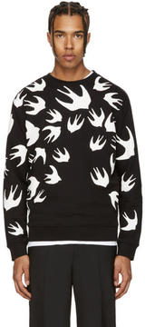 McQ Black and White Swallows Clean Sweatshirt