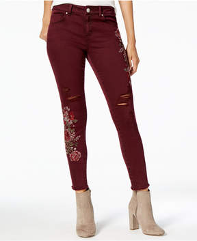 American Rag Juniors' Floral-Embroidered Skinny Jeans, Created for Macy's
