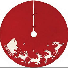 Asstd National Brand 54 Red and White Embroided Rice Stitch Flying Sleigh Christmas Tree Skirt