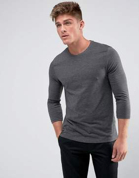 Asos T-Shirt With 3/4 Length Sleeves In Gray