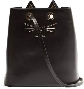 CHARLOTTE OLYMPIA Feline-embellished leather bucket bag