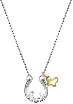 Alex Woo Little Words Sterling Silver Luck Horseshoe & 14K Yellow Gold Butterfly Pendant Necklace