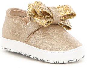 MICHAEL Michael Kors Girls Baby Bowi Metallic Bow Slip On Crib Shoes