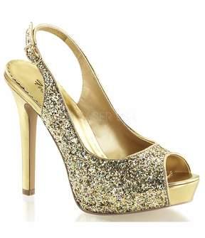 Unique Vintage Gold Glitter Platform Sling Back Heels Shoes