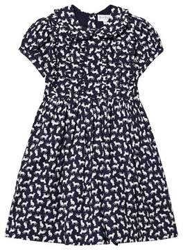 Rachel Riley Navy Cat Print Dress with Ruffle Collar