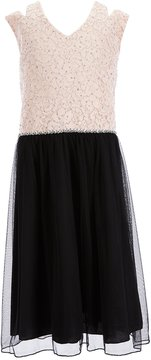 Xtraordinary Big Girls Plus 12.5-20.5 Glitter Lace Fit-And-Flare Dress