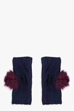 boohoo Harriet Fur Pom Handwarmer Gloves