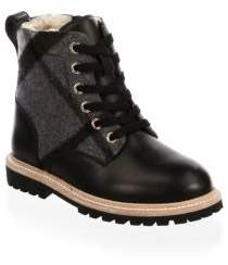 Burberry Kid's Leather Combo Combat Boot